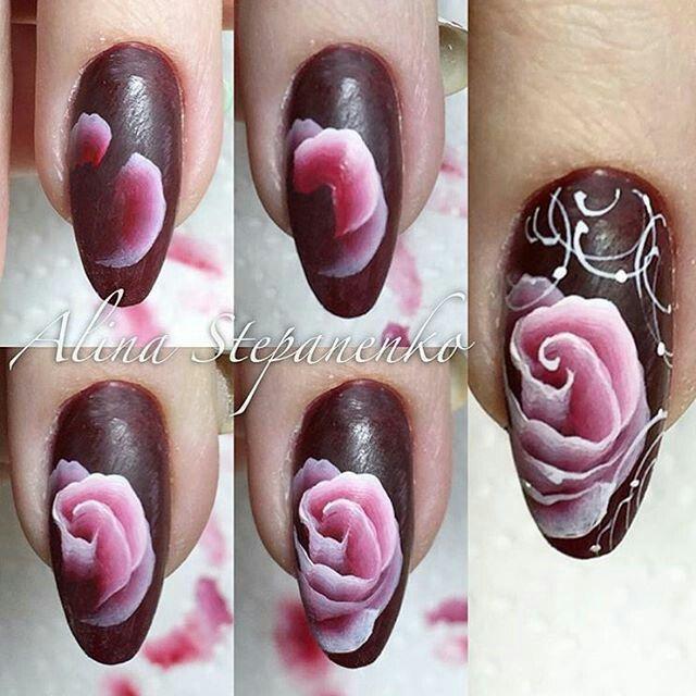 Painting Tutorials, Art Tutorials, One Stroke Nails, Art Floral, Pink Nails,  Gel Nails, Nail Polish, Amazing Nails, Nail Arts - 166 Best One Stroke Nail Art Images On Pinterest Flower Nails