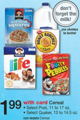 Post Fruity or Cocoa Pebbles Cereal Just $.99 At Walgreens Or Walmart!