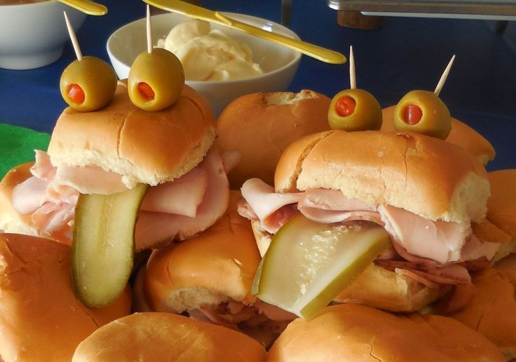 A Frog Party-Cold cut sliders that look like, well, you know. Mustard, mayo, cheese, tomato, strips of red onion (super cold to reduce the fire), and extra Frog Tongues (sandwich pickles) were serve yourself.
