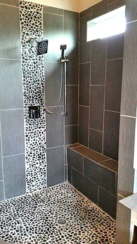This Is A Tiled Shower With Pebble Accent Tiles From A
