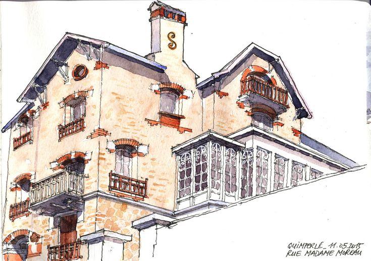 Croquis du lundi matin à Quimperlé. Une étonnante maison datant de 1920 dans la rue Madame Moreau, qui est en fait une rue escalier (pas facile d'habiter là pour des personnes handicapées !). Elle est à vendre actuellement. Aquarelle sur carnet Moleskine A4