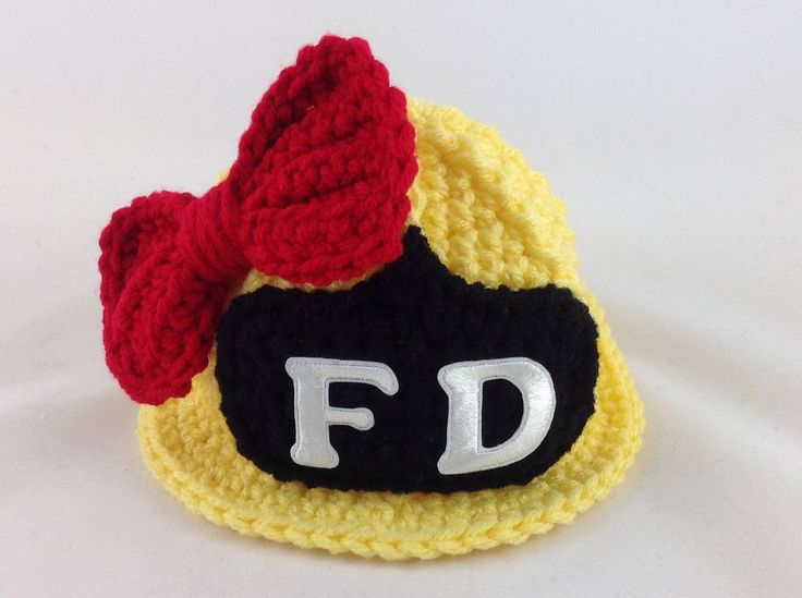 Baby Girl Firefighter Hat in Yellow with Red Bow - Firefighter Baby Girl - Firefighter Baby Shower - Photography Prop - Baby Shower Gift by TimelessCrochetCraft on Etsy