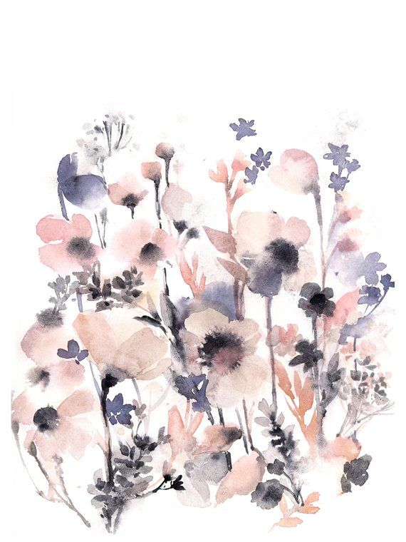 Pale Pink Flowers Original Watercolor Painting Pink And Purple