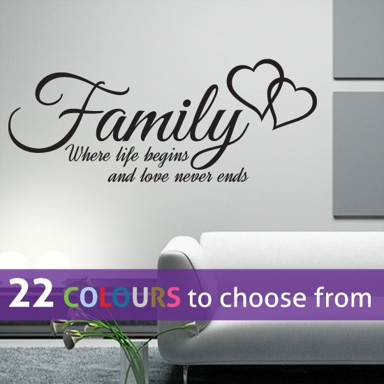 FAMILY where life begins and love never ends quote wall
