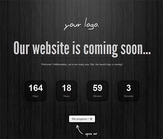 This responsive coming soon template comes with 20 different backgrounds, subscription and contact forms, a progress bar and countdown timer, social media icons, and much more.