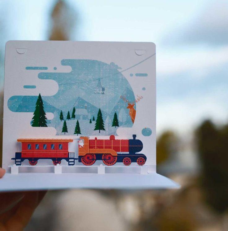 Santa's train Christmas card ---- Trenul lui Mos Craciun /  Felicitari 3D de Craciun