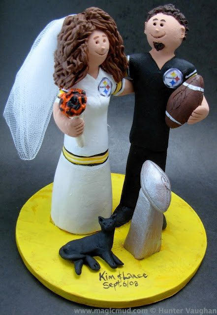 NFL Football Wedding CakeTopper, Football Wedding CakeTopper, Football Wedding Anniversary Gift/Cake Topper,NCAA Caketopper    Football Wedding Anniversary Gift/Cake Topper, NFL Football Wedding CakeTopper, NCAA Caketopper  ...a fired clay Wedding Cake Topper for a Football Fan's Marriage, custom created for you! Handmade to your specifications by magicmud.com    $235 #magicmud 1 800 231 9814 www.magicmud.com