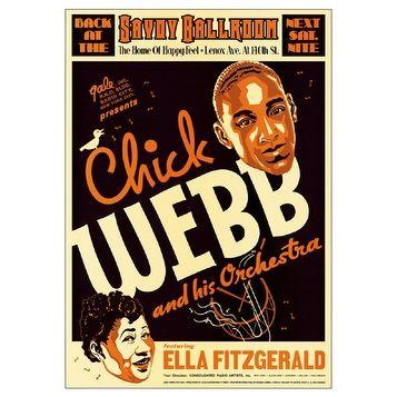 ''Chick Webb & Ella Fitzgerald Savoy Ballroom'' by Anon African American Art Print