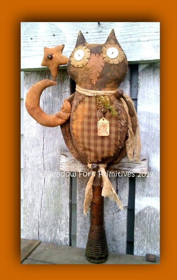 primitive folk art night owl patternpdf instant by meadowforkprims 700