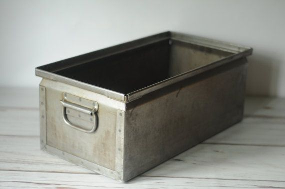 Vintage Metal Storage Bin Box Tote By Pagescrers 79 99 For The Home Pinterest Bins And