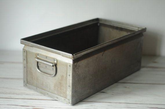 Vintage Industrial Metal Storage Bin Box Tote By
