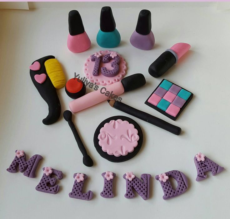 Edible Make Up Cake Topper S Birthday Nail Polish Name Age