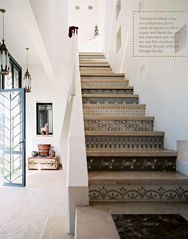 Stenciled stairs in Peacock Pavilions featuring stencils by Royal Design Studios and the work of the Peacock Painters. Via Lonny magazine.
