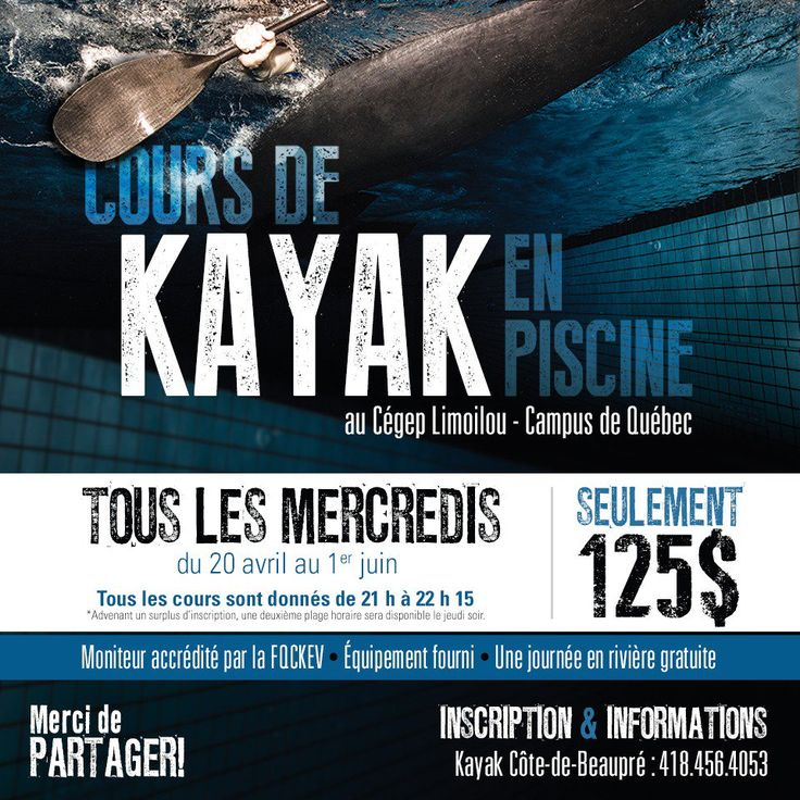 """Kayak Beaupré sur Twitter : """"Reste 1 places mercredi Nouveau groupe le mardi soir 19 avril au 31 mai #COUR #KAYAK #PISCINE #PRINTEMPS2016 https://t.co/STvg5DbeSN"""""""