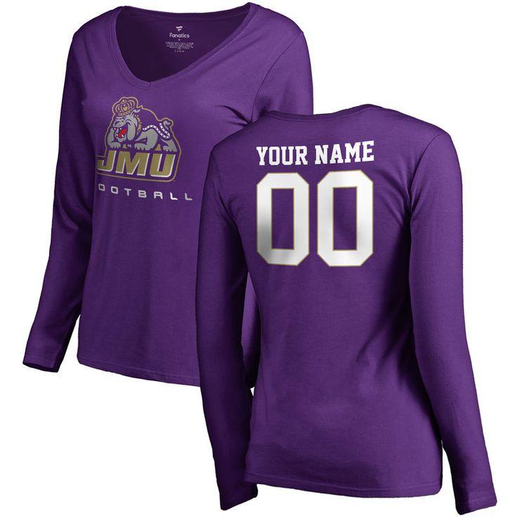 James Madison Dukes Women's Personalized Football Slim Fit Long Sleeve T-Shirt - Purple