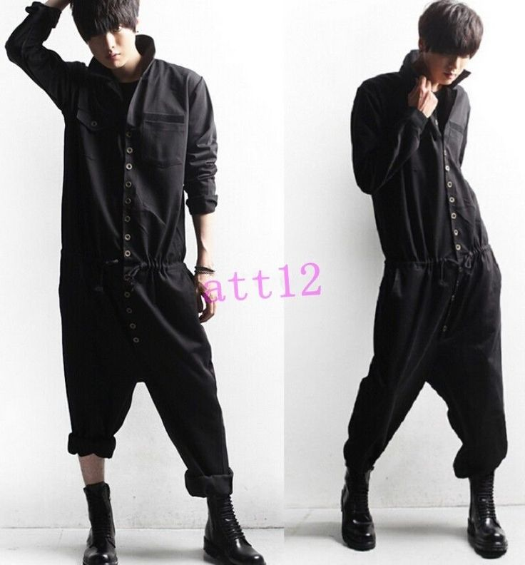 Mens Baggy Sleeve Trousers Suits Vintage Korean Overalls Work Jumpsuits Hiphop