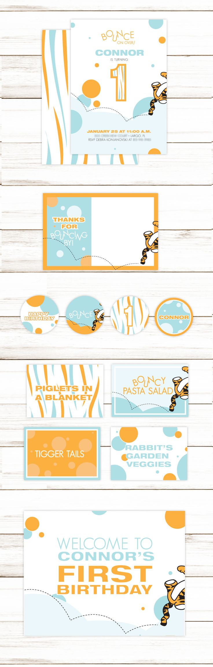 best images about birthday party invitations and party supplies blue and orange tigger bounce on over tiger stripes first birthday custom