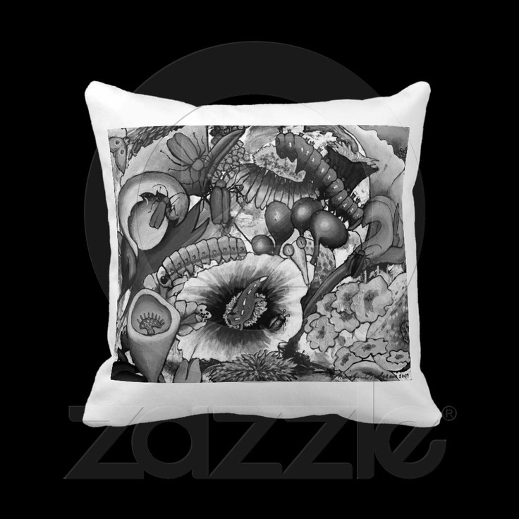 2240 Creatures In our Garden Cushion - white Throw Pillows from http://www.zazzle.com/passionartz*