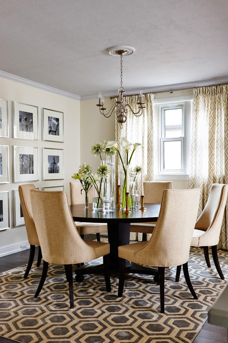 As seen on season 1 of Sarah Sees Potential, Sarah spruced up this once plain dining room with a fresh coat of neutral paint, new rich hardwood floors and chic, modern decor to complement the contemporary style of the updated nearby kitchen.