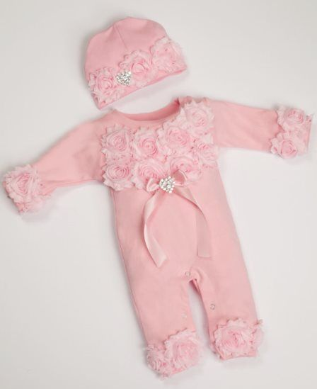 Pink Baby Girl Romper Infant One Piece Set with Shabby Chiffon Flowers & Matching Hat-light pink, pink, romper, infant, baby, girl, boutique, newborn, outfit, boutique, clothing, set