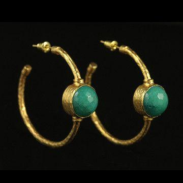 Hoop Stone Earrings in Aqua