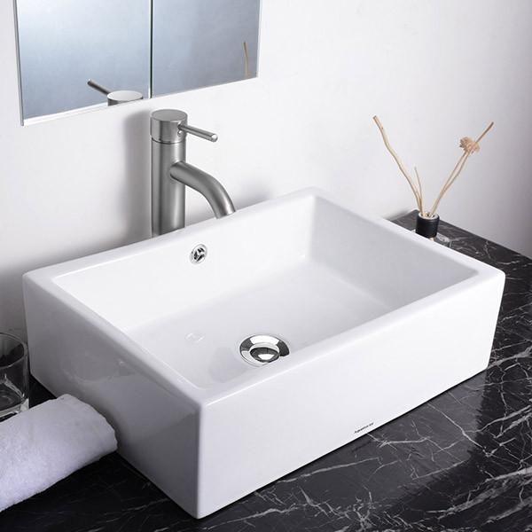 Aquaterior® Rectangle Bath Vessel Porcelain Sink w/ Overflow & Drain