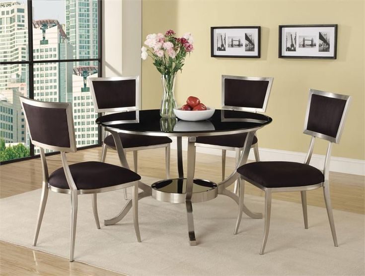 Acme Furniture   Abbott Metal Dining Set In Black (Table And 4 Chairs)