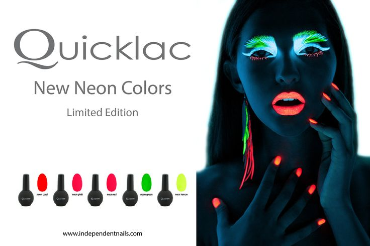 Quicklac Neon - summer 2013   For NEON Nails . Find http://www.independentnails.com/gel-semipermanente/nuovi-colori-semipermanente.html