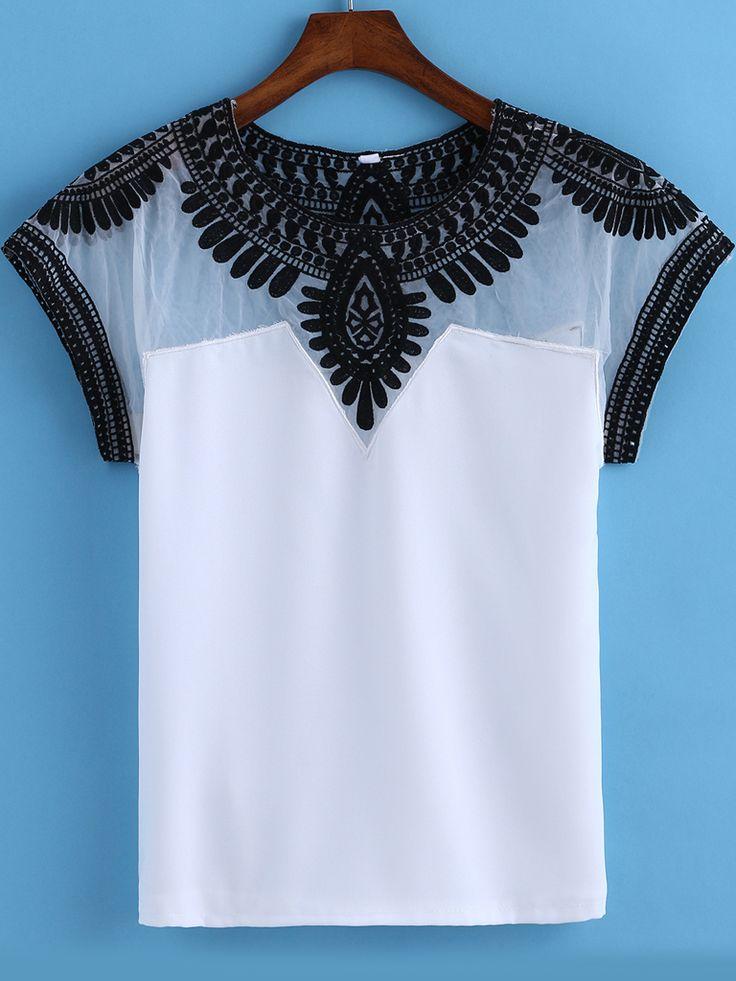 White Round Neck Embroidered Mesh T-Shirt-Romwe