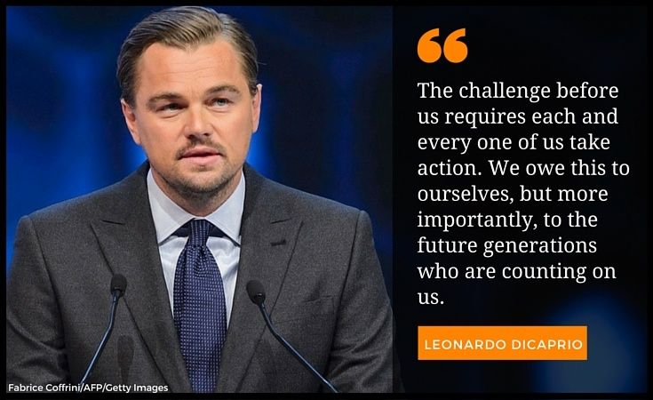 On Tuesday, DiCaprio received the Crystal Award from the World Economic Forum for his work on climate change