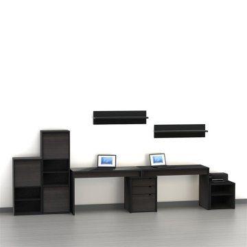 Nexera Nexera Sereni T 2 Person Desk With Filing Cabinet  , Black, Laminate