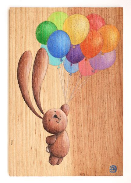 Bunny Ciacio and rainbow balloons. Pencils on recycled wood, by Sarah Khoury