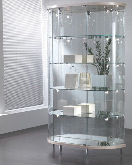 Half Oval fully glazed glass cabinet. http://www.display-cabinets-direct.co.uk