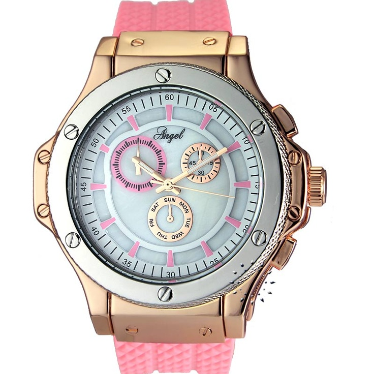 ANGEL Ladies Pink Rubber Strap  64€  Αγοράστε το εδώ: http://www.oroloi.gr/product_info.php?products_id=30459