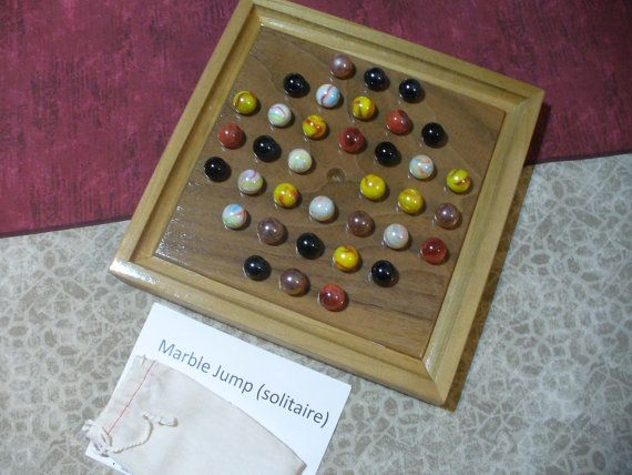 FREE SHIPPING!! Marble Jump-Solitaire Game board - Handmade - Hardwoods, fancy marbles, storage bags and complete rules etsy