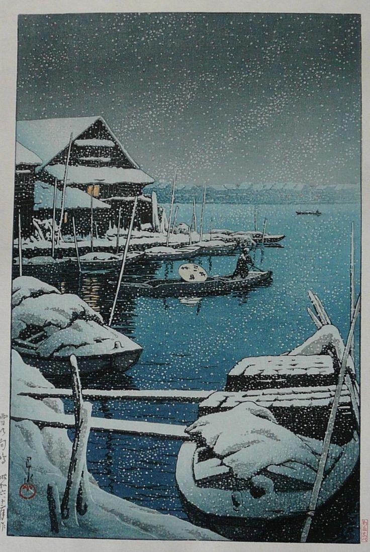 Kawase Hasui, Snowstorm at Mukojima, 1931, woodblock print: Mukojima 1931, Japanese Prints, Japanese Woodblock, Japan Art, Woodblock Prints, Japan Woodblock, As Hasu, Hasui Karawa, Kawa Hasui Snowstorm