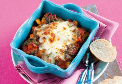 Recept voor pesto-groentelasagne met stokbrood