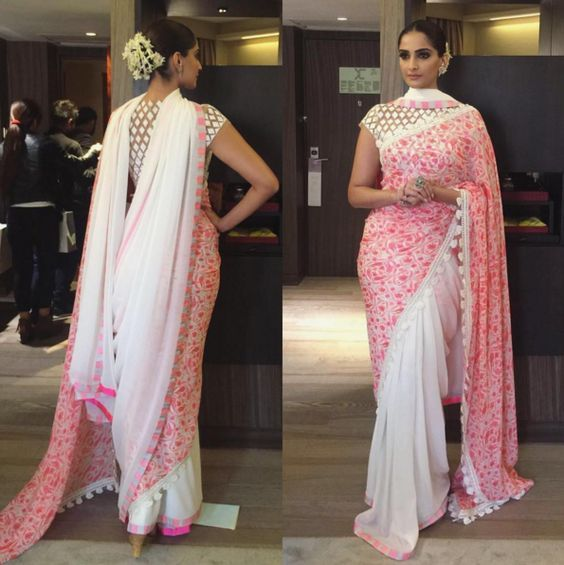 Double pallu saree, designer drape style by sonam kapoor. Learn the saree draping method