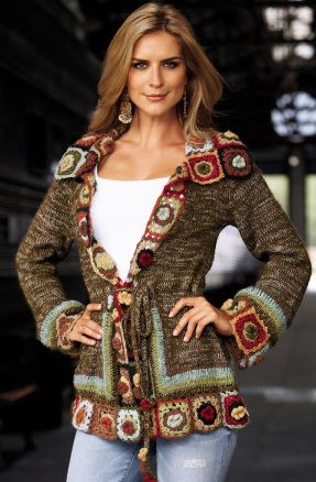 Drawsting Crochet Cardigan  by Boston Proper