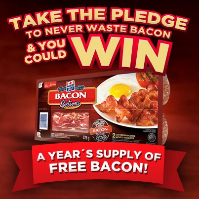 Canadians! Simply pledge to #NeverWasteBacon and you could be one of 10 lucky winners to receive a year's supply of FREE #bacon! There's also tons of great bacon gear to be won. What are you waiting for?