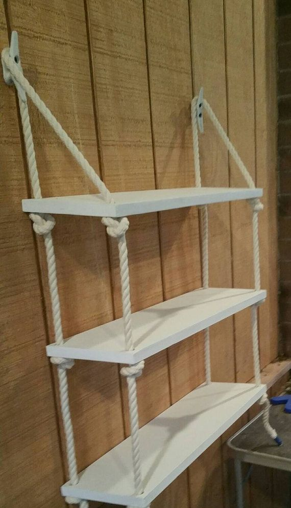 3 Tier rope shelf. The shelves measures 24 × 8 The shelves are approximately 10 between each. They can be painted in your color choice. 2 6 Boat cleats with screws are included for mounting. Painted to match the shelves.  We don try to cover up any knots or imperfections in the wood itself as we feel this adds to the charm and uniqueness of the individual piece. The finished product will vary slightly from piece to piece.