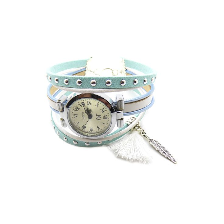 Kit Bracelet montre suédine cloutée bleu aqua 5mm, cuir rond 2mm bleu clair métal et blanc, : Kits, tutoriels bijoux par mf-apprets-et-perles