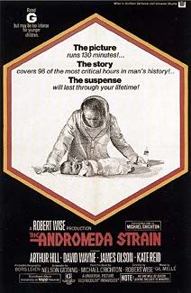 The Andromeda Strain is a 1971 American science-fiction film, based on the novel published in 1969 by Michael Crichton. The film is about a team of scientists who investigate a deadly organism of extraterrestrial origin that causes rapid, fatal blood clotting. Directed by Robert Wise, the film starred Arthur Hill, James Olson, Kate Reid, and David Wayne. The film follows the book closely. The special effects were designed by Douglas Trumbull.