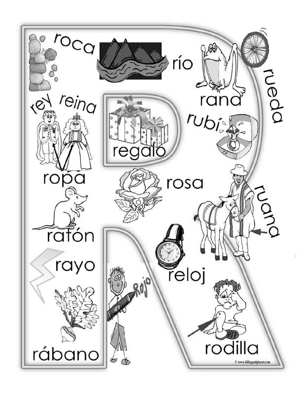 """R"" coloring page in Spanish ~Repinned by Talk To Me Therapy LLC. Follow us at: https://www.pinterest.com/talktometherapy/"