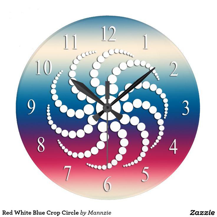 Red White Blue Crop Circle Large Clock