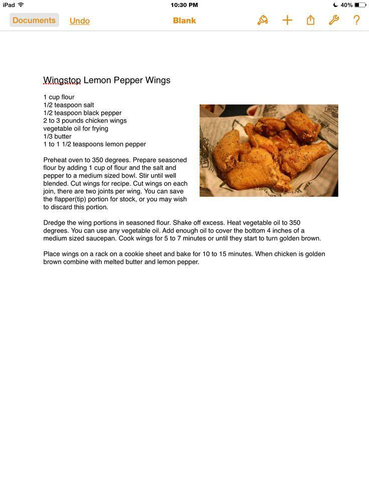 Wing stop Lemon Pepper wings