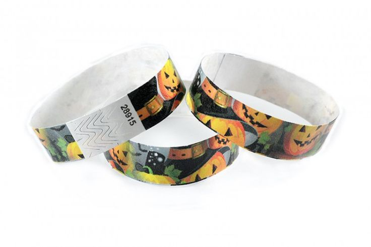 """""""Scary Pumpkins"""" Tyvek® 3/4"""" Pattern Wristbands perfect for Halloween parties or any other special event. www.medtechgroup.com #Halloween #Wristband #Bats #Events #Admission #Ticket"""