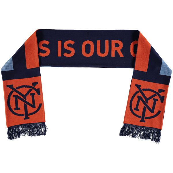 New York City FC adidas Orange/Navy Jersey Hook Jacquard Scarf - MLSStore.com