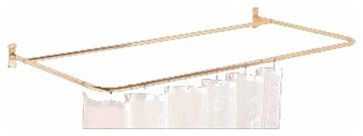 Shower Curtain Rods Bright Solid Brass 4 Sided Shower Curtain Rod | 97256 - transitional - Showers - The Renovator's Supply, Inc.