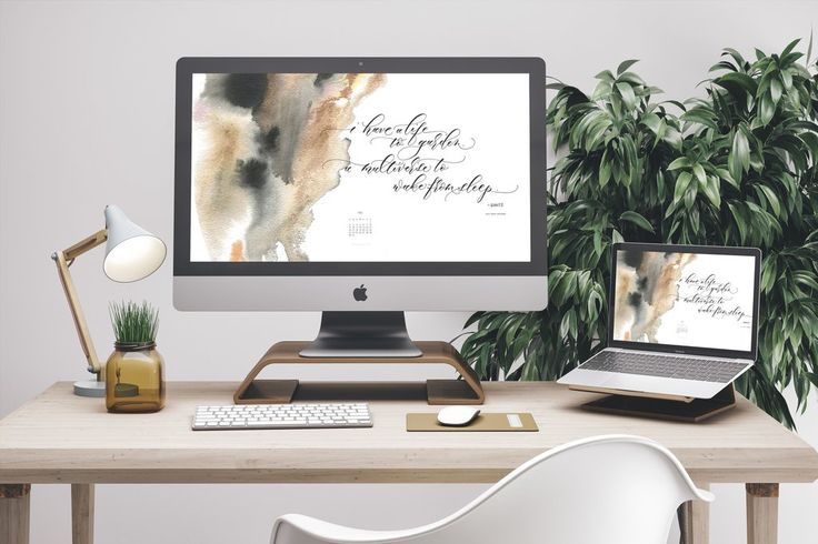 Free desktop and mobile wallpaper download. Beautiful quote in calligraphy by Angelique Ink and calendar for July.